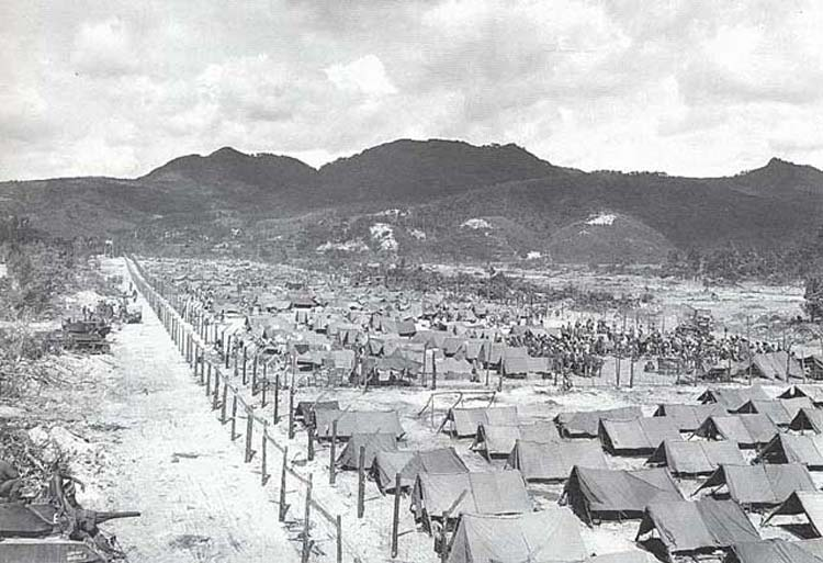 Prisoner of war camp during the last stage of Battle of Okinawa, 1945