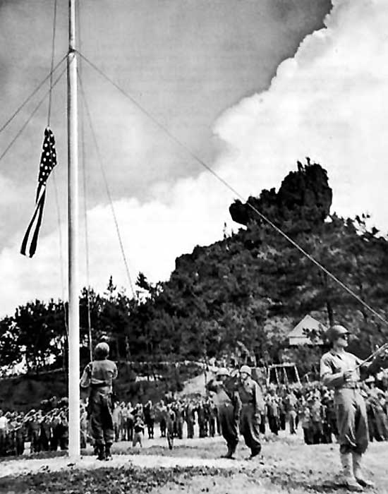 Raising the American flag at the end of the Battle of Okinawa, 1945