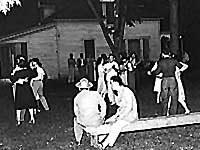 Japanese Americans at camp dance, Nyssa, Oregon