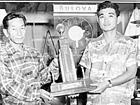 Waialua High School. First football championship. Al Ogawa and Toshiyuki Nakasone.