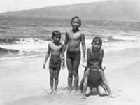 Boys at beach. Katsugo Miho is in the middle; also in view are the Kinoshita and Toda boys. Kihei, Hawaii. August 18, 1935.