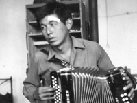 """Konkon"" Shiroma with Horner accordion. Germany. 1945."